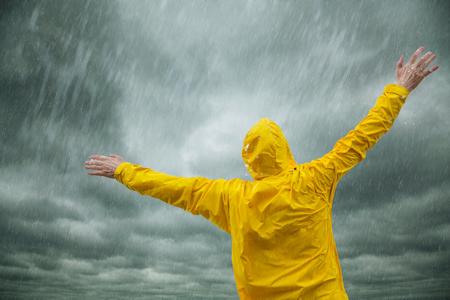 man so free enjoying the rain